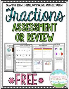 Enjoy this *Free* four-page fraction assessments or printables. There are four pages included, covering drawing and identifying fractions, fractions on a number line, comparing and ordering fractions, and equivalent fractions. Answer key included. Enjoy!