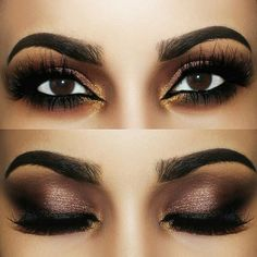 "Hottest Smokey Eye Makeup Ideas 2019 Nothing says ""mysterious and alluring"" like a pair of smokey eyes giving someone the ""come hither"" look from across the room. This look can be achieved fairly easily. The ""smokey eyesR. Purple Smokey Eye, Smokey Eyes, Smokey Eye For Brown Eyes, Makeup For Brown Eyes, Bronze Smokey Eye, Dark Eye Makeup, Smoky Eye Makeup, Dark Brown Eyes, Dark Skin"