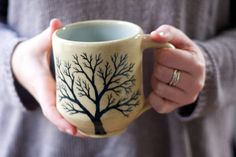 Pottery Coffee Mug with tree in Beige and Pale blue