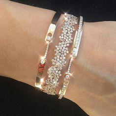 bracelet diamant or Malabar Diamond Bracelets, Sterling Silver Bracelets, Bangle Bracelets, Bangles, Diamond Jewelry, Silver Earrings, Gold Necklace, Cute Jewelry, Modern Jewelry