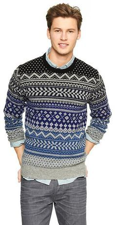 With winter fast approaching, you can spice things up a bit with a fair isle sweater. Enjoy our collection of men's fair isle sweaters and get inspiration. Nordic Sweater, Men Sweater, Fall Fashion Outfits, Men's Fashion, Casual Jeans, Men Casual, Mens Fashion Sweaters, Cool Sweaters, Winter Sweaters