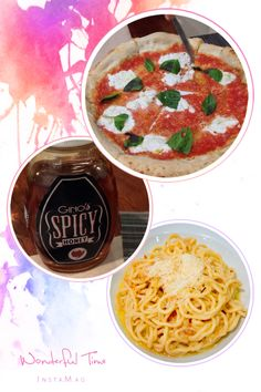 First time I tried spicy honey. Italian dinner at Gino's. Margherita pizza and Alia oglio Brick Oven Pizza, Spicy Honey, Family Bonding, Bacon, Dinner, Ethnic Recipes, Food, Dining, Food Dinners