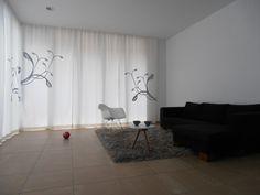 Black & White curtain with city flower print by s.wert http://www.s-wert-design.de
