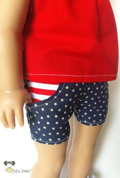 American Girl Doll Clothes Patriotic Pocket Shorts by JoDeePetites