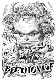 Caricatura de Beethoven por Pablo Morales de los Rios Classical Music Composers, Caricatures, Animals And Pets, Pop Culture, Pop Art, Instruments, Comic, Posters, Fictional Characters
