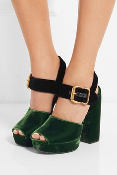 Heel measures approximately 130mm/ 5 inches with a 25mm/ 1 inch platform Green and black velvet Buckle-fastening ankle strap Made in Italy