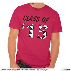 Graduation 2015 Men's Hanes T-Shirt, Red @ www.zazzle.com/hicCcups*/ #graduation #graduate #t-shirt #red #2015 #class_of_2015 #men #high_school #college #black #white