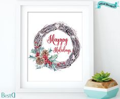 Happy holidays ptintable watercolor holidays by BestDesignland