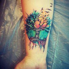 Watercolor akshun #KOSTUDIOART #watercolortattoo #tattooedgirls #tattoolife #tattoo #ink #bishoprotarymachine #skincandyink #inked #tattoogasm #inkgasm #colortattoo #forarmtattoo