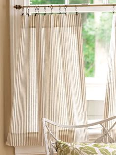 Bathroom Window Curtains, Living Room Decor Curtains, Apartment Curtains, Window Drapes, Striped Curtains, Drapes Curtains, How To Hang Curtains, Short Curtains, Plywood Furniture