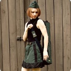 Military Mini Skirt and Mat Bag.  The link is broken but I love the concept