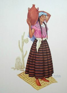 "This is a print from the portfolio ""Trajes Regionales Mexicanos/Mexican Costumes"" by Montenegro and Munoz Lopez. The woman is an Otomi from the state of Hidalgo, Mexico"