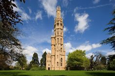 Hadlow Tower, known locally as May's Folly, is a Victorian Gothic tower, and one of the largest in Britain. The top 40 feet (12 m) is an octagonal lantern. Hadlow Tower was designed as a grand folly by George Ledwell Taylor, architect to the Admiralty, for the owner of Hadlow Castle, Walter Barton May in 1832.  The tower received little or no maintenance after the mid 19th Century and as a result lt deteriorated.Full restoration was completed 2013