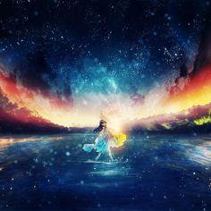 HD wallpaper: anime, anime girls, sky, night, stars, dark hair, universe