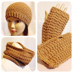 This gorgeous and textured Honeycomb Set comes with a beanie, fingerless mittens and a cowl. It was crocheted using 100% acrylic in a dark tan colour.   MEASUREMENTS Hat 8 inches from crown to rim edge 20-22 inch circumference (Adult medium to large) Fingerless Mittens (Adult medium to large) 7 1/2 inches in length 4 1/4 inches in width Cowl 8 1/2 x 11 1/2 inches CARE