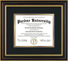 Purdue University Diploma Frame-Satin Black-No Embossing-Black on Gold - Official Diploma Frames