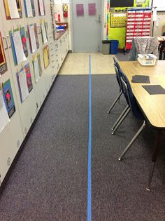 Painter's tape on the floor to remind kids where to line up-- use for the first two weeks of school until they get in the habit