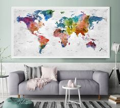World map map of the world world map poster large world map push pin travel map of world watercolor map push pin map fathers day gumiabroncs Gallery