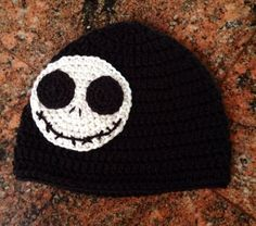 "adult ""Jack"" beanie inspired by Nightmare before Christmas on Etsy, $20.00 Nightmare before Christmas crochet beanie"