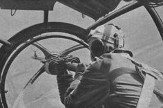Skipper German bomber Heinkel He-111 in the bow ball mount 'Ikaria' at 7.92 mm machine gun MG-15. Photo taken from the pilot's seat of the bomber.