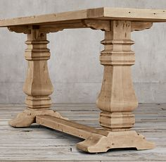 """RH's Salvaged Wood Trestle Console:Our salvaged wood trestle table from Timothy Oulton is handcrafted of unfinished, solid salvaged pine timbers from 100-year-old buildings in Great Britain. Handsomely distressed, the salvaged wood bears a distinctive timeworn patina that ages beautifully over time.VIEW THE VIDEO """"THE SALVAGED WOOD COLLECTION"""" FEATURING TIMOTHY OULTON ▸SHOP THE ENTIRE COLLECTION ▸"""
