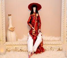 Poupée tissu d'inspiration tilda, la Musicienne d'Hanoï et sa méridienne : Accessoires de maison par dame-brigitte