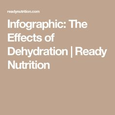 Infographic: The Effects of Dehydration | Ready Nutrition
