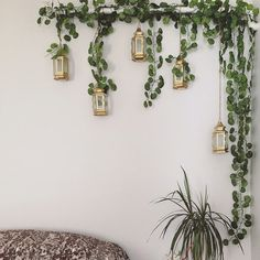 24 Strands 82 Long Artificial Hanging Plants by HandcraftsInStudio Fake Plants Decor, House Plants Decor, Plant Wall Decor, Patio Wall Decor, Hanging Plant Wall, Bedroom Plants, Bedroom Decor, Modern Bedroom, Bedroom Wall