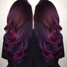Are you looking for Dk Brown Purple Burgundy hair color hairstyles? See our collection full of Dk Brown Purple Burgundy hair color hairstyles and get inspired! Onbre Hair, Hair Dos, Prom Hair, Curly Hair, Hair Color Purple, Cool Hair Color, Burgundy Hair Ombre, Red Hair With Purple, Burgundy Hair With Highlights