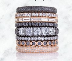 Bezel Set Bands in Pink, Yellow, White, Green, Champagne and Black Diamonds in 18K White, Yellow, and Rose Gold.