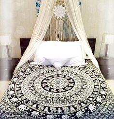 Rawyal Tapiz de estilo indio, diseño de elefantes, color blanco y negro