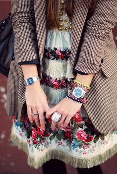floral dress/rings