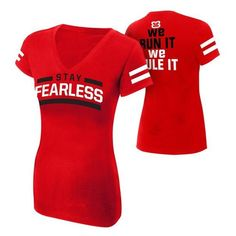 "Nikki Bella ""Stay Fearless"" Women's V-Neck T-Shirt ❤ liked on Polyvore featuring tops, t-shirts, red tee, red v neck t shirt, red top, classic fit t shirt and v neck t shirts"