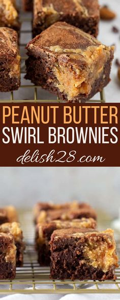 PEANUT BUTTER SWIRL BROWNIES Peanut Butter Swirl Brownies, Peanut Butter Cups, Peanut Recipes, Brownie Recipes, Gooey Cookies, Flourless Cake, Crepe Recipes, Blueberry Cheesecake, Natural Peanut Butter