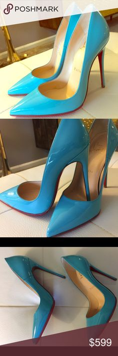 Authentic Christian Louboutin (So Kate 120) Sz 5 New in box, classy, glamorous patent blue (So Kate) shoes. This was an impulse buy for me. It was so beautiful when I saw it. I had my expert shoe shop put a rubber sole(paid $55) to protect the red sole like I do to all my red bottoms before I even take them home. Very nice color. Just in time for spring and summer. Willing to take reasonable offers. Enjoy shopping!!! Christian Louboutin Shoes Heels