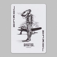 - About - Info Card - Photos A century ago man first soared into the clouds and reached beyond the impossible. Today, we venture further skyward and invite you aboard as a classic is reimagined. Joker Playing Card, Joker Card, Unique Playing Cards, Charles Lindbergh, Howard Hughes, Custom Decks, Wallpaper Space, Jokers, Aviation