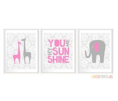 Nursery quote print You are My Sunshine giraffe, elephant set of 3 11x14 DAMASK on Etsy, $43.00