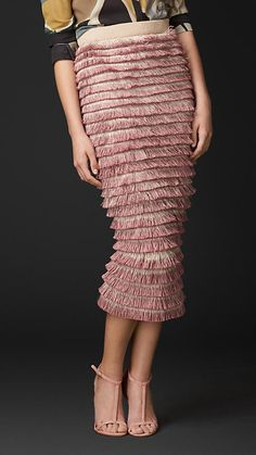 Ash rose Hand-Painted Layered Fringe Pencil Skirt - Image 1