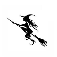 Happy Halloween Young Beautiful Witch Flying Tomb Wall Decals Window Stickers Halloween Decorations #Affiliate