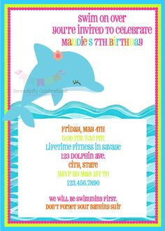 Free kids party invitations dolphin party invitation new delfn bright dolphin happy birthday word banner por serendipitypartyshop filmwisefo Gallery