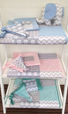 , Patchwork cot quilt in Mint and Grey Elephants with by Danoah. , Patchwork cot quilt in Mint and Grey Elephants Elephant Quilt, Grey Elephant, Elephant Nursery, Quilt Baby, Cot Quilt, Patchwork Cushion, Baby Cover, Baby Bedroom, Baby Crafts