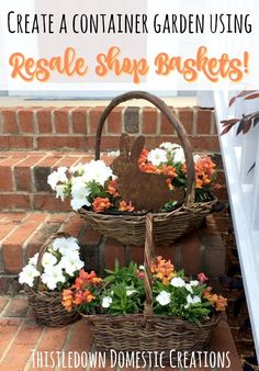 Create a container garden with resale shop baskets in just a few simple steps!