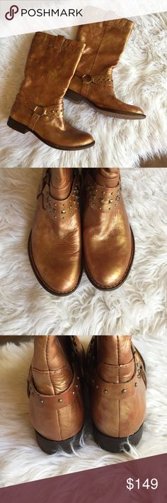 """Born Crown Boreen Metallic Gold Boots Unique brown / gold metallic finish leather boots. Excellent used condition. Soft, high quality leather. 💫 Smoke free home. Offers are welcome though the """"offer"""" button. No negotiations in the comments. No trades/holds/modeling requests, please. 1 day average ship time. Bundle multiple items for a discount and only pay for shipping once! Born Shoes Heeled Boots"""