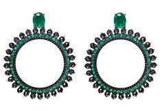 Carla Amorim - Black Label - Brinco Vitória Régia - Emerald and black diamond earrings
