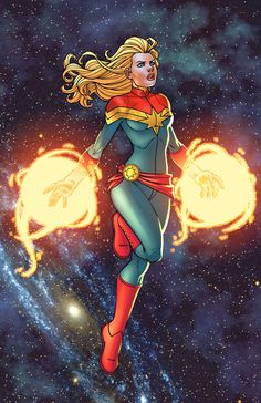 Comicbook colorist threw some colors on my Captain Marvel pic. He colored one of my favorite Ms. Marvel storylines, drawn by the late Mike Weiringo. lines/inks by me colors by Captain Marvel © Marv...