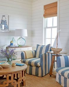 Great coastal beach style living with slip covered furniture. Slipcovered Sofas, Accent Living Room Chairs, and Dining Chairs. Easy breezy living with slip covers! Featured on Completely Coastal. Shop the look of these coastal beach interior designer room Beach Cottage Style, Beach Cottage Decor, Coastal Cottage, Coastal Decor, Coastal Style, Cottage Chic Living Room, Cottage House, Coastal Homes, Living Room Accents