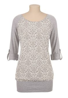 3/4 Sleeve Burnout Tunic Pullover (original price, $34) available at #Maurices