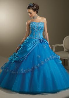 BallGown Strapless Tulle Floor-length Blue Lace-up Quinceanera Dress at sweetquinceaneradress.com
