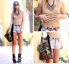 NECKLACE, PAKISTANI, in JEWELRY  BELT, VINTAGE, in BELTS  SHORTS, TUNNEL VISION, SHOPTUNNELVISION.COM, in SHORTS  BOOTS, HARLEY DAVIDSON, in BOOTS  BAG, VINTAGE, in BAGS