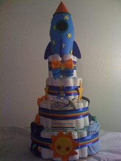 Big Bang Theory 4 Tier Rocket Diaper Cake Baby Shower Gift Nursery Décor Diaper Cake Boy Baby Shower Centerpiece Mother to Be New Mom Baby Shower Decorations For Boys, Baby Shower Centerpieces, Baby Shower Themes, Shower Ideas, Space Baby Shower, Baby Boy Shower, Baby Shower Gifts, Baby Gifts, Diaper Cake Boy